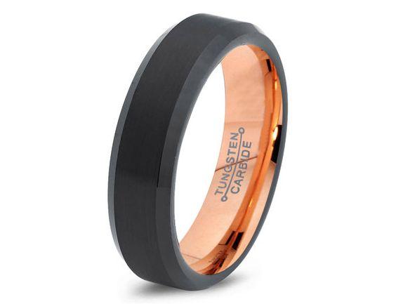 Black Tungsten Ring Rose Gold Wedding Band Ring Tungsten Carbide 6mm 18K Tungsten Ring Man Wedding Band Male Women Custom Anniversary Size