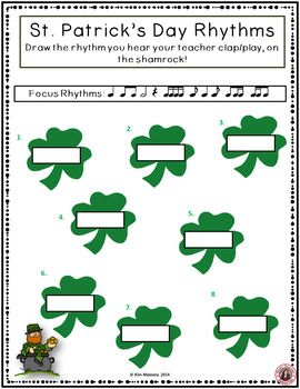 St Patrick's Day Rhythm and Aural Activities SET 2 ♫ CLICK through to read more of save for later!  ♫