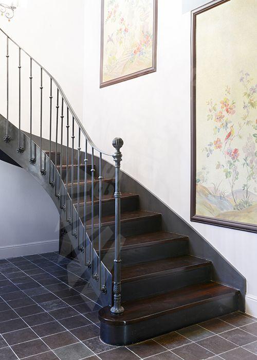 Photo dt122 esca 39 droit 2 4 tournants escalier d 39 int rieur balanc style 39 bistrot 39 en m tal - Escalier bois interieur ...