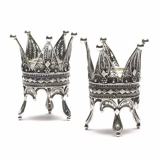 """Yemenite """"Crown"""" Shabbat Candle Holders"""