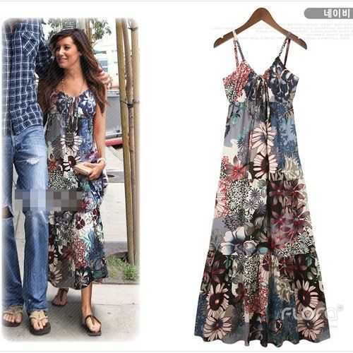 Casual Exotic Bohemia Long Dress Summer Beach Womens Floral Prints ...