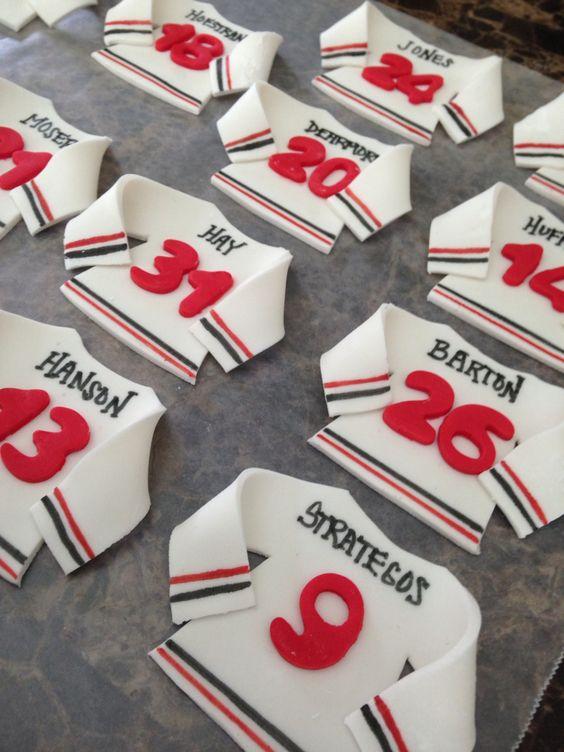 Cupcake Decorating Ideas Hockey : Fondant Ice Hockey cupcake toppers My creations ...