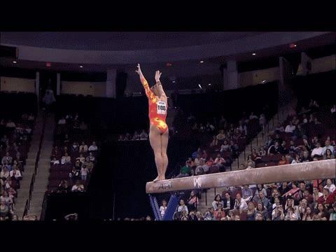 Shawn Johnson gif. 2008 Visa Championships Day 1 Beam first pass back handspring, back handspring, layout #gymnastics