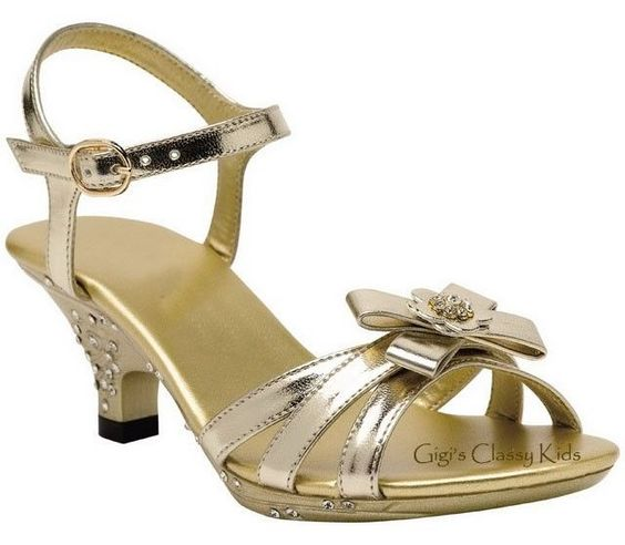 New Toddler Youth Kids Girls Gold Strappy Heels Dress Shoes ...