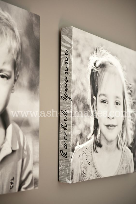 Child's name on the side of canvas photo - such a fabulous idea