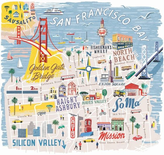 San Francisco map for National Geographic Traveller by Anna Simmons