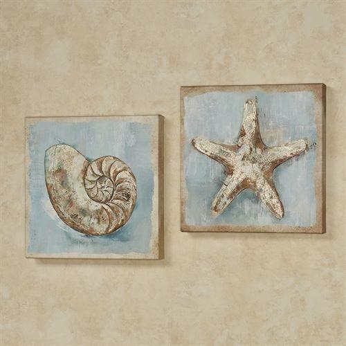 Largo Dreams Nautilus Shell And Starfish Coastal Canvas Wall Art Set Canvas Wall Art Set Canvas Wall Art Wall Art Sets