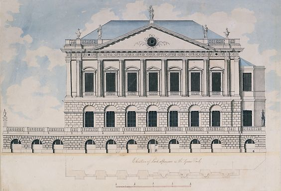 Spencer House, London, facade to Green Park, James 'Athenian' Stuart, who superseded Vardy, coloured drawing.: