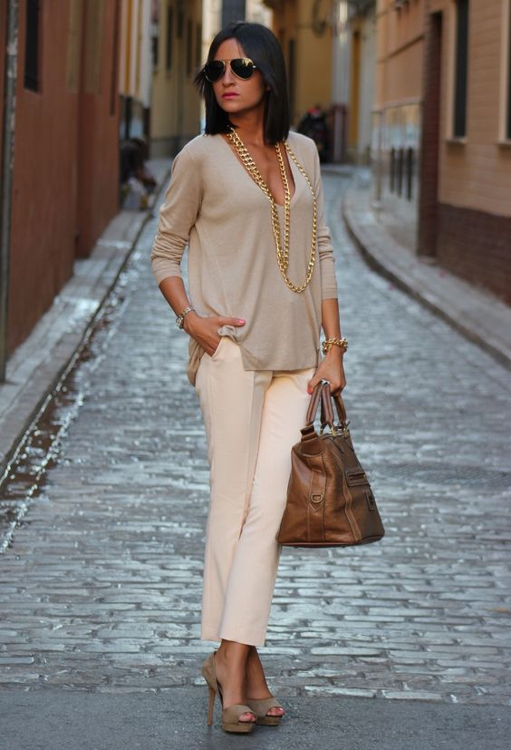 women's fashion- spring outfit, neutrals: