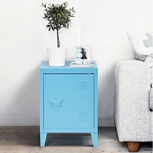 Blue Metal Nightstand Cabinet Side End Table With Door And Shelves Ehomeproducts Metal Nightstand End Tables With Storage End Tables