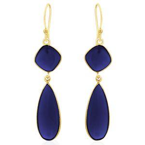 Viyari Geometric Blue Dangle Earrings