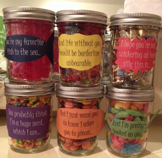 """Birthday message for boyfriend! Mason jars filled with different candy, each corresponding with the note on the jar. """"You're my favorite…"""