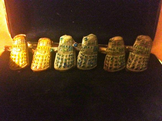 Hand sculpted and painted Dalek post earrings. $18 In three cool colors.