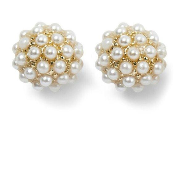 Goldtone faux pearl fireball earrings