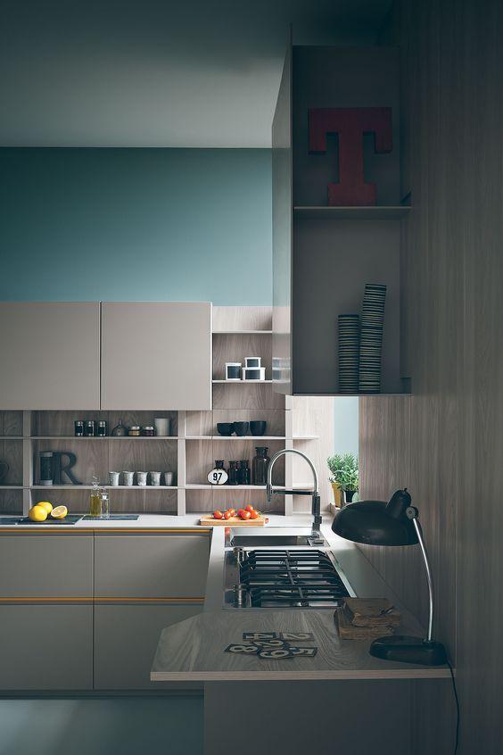 Zampieri - #Tweet kitchen in hemp brown mat lacquer with yellow handle.