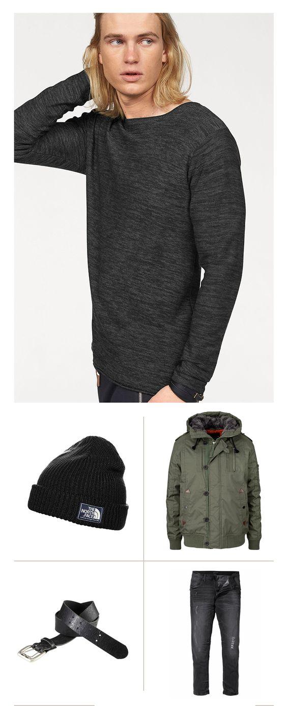 Der Winter kommt schneller als man denkt. Mit diesen Styles bist Du schon jetzt perfekt vorbereitet: Den Rundhalspullover kombinierst du lässig mit der schwarzen Slim-Fit, dazu die wärmende Blousonjacke – und natürlich die Mütze nicht vergessen!