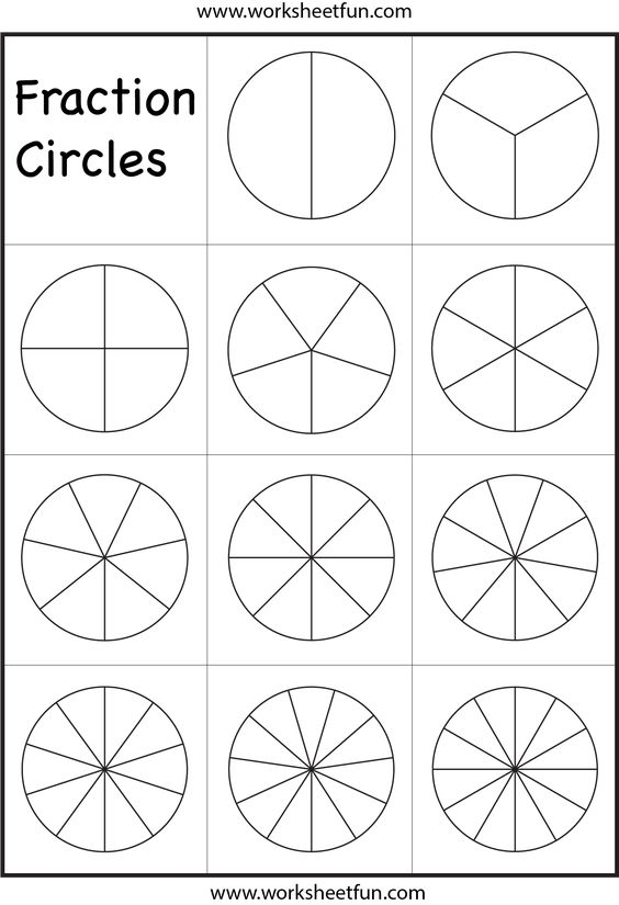 Fraction Circles Worksheet | Printable Worksheets | Pinterest ...
