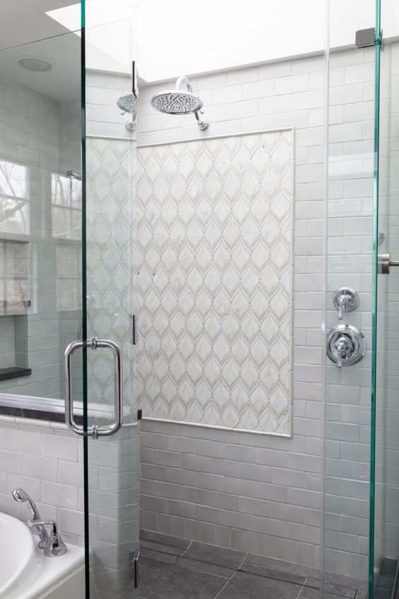 Tile white tiles and mosaics on pinterest - Bathroom wall covering instead of tiles ...