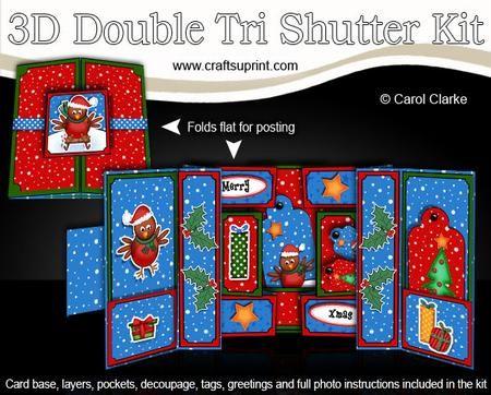 3D Xmas Robins Double Tri Shutter Card Kit    3D Xmas Robins Double Tri Shutter Card Kit http://www.craftsuprint.com/card-making/kits/3d-double-tri-shutter-cards/3d-xmas-robins-double-tri-shutter-card-kit.cfm?r=380405