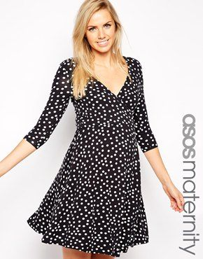 Enlarge ASOS Maternity Exclusive Wrap Skater Dress in Spot Print with 3/4 Sleeve