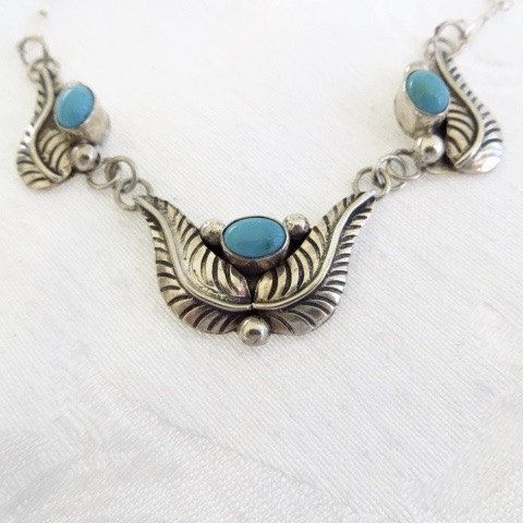 "Navajo Sterling Necklace Silver Turquoise Bib Southwestern Style Old Pawn Style 18""  Beautiful old pawn style Navajo necklace with center turquoise stone flanked by two ste..."
