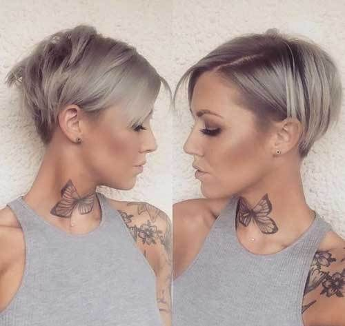 Layered Pixie Bob Hairstyle With Achromatic Gray Beard Blush And Cone Shaped Aback Is Abundant Fo Short Hair Styles Haircuts For Fine Hair Celebrity Short Hair