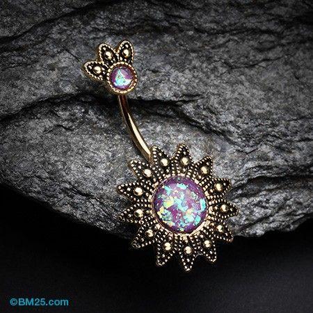 Golden Antique Tribal Sun God Opal Sparkle Belly Button Ring