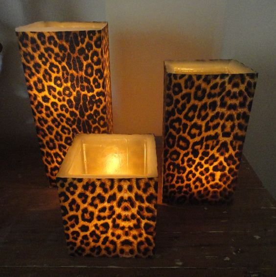 Candles candle holders and the dollar store on pinterest - Cheetah print centerpieces ...