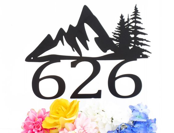 Custom Mountain House Number Metal Sign - 3 Digit, Black, 17x13, Mountain, Pine Tree, Metal Sign, Address Plaque, Outdoor Sign, House Number by RefinedInspirations on Etsy https://www.etsy.com/listing/197016638/custom-mountain-house-number-metal-sign