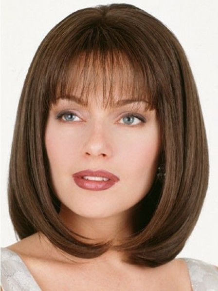 Shoulder Length Bob Straight Human Hair 3/4 Wig