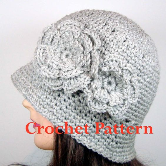 Crochet Pattern for Cloche Hat with Two Flowers by ...