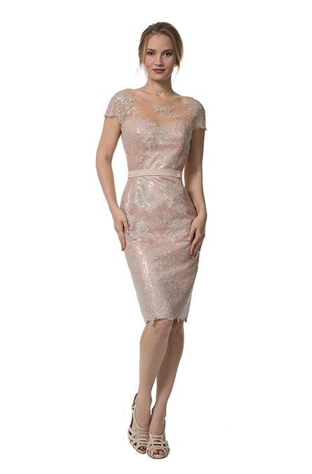 Style 4301 - Liancarlo Metallic lace cap sleeve cocktail dress ...