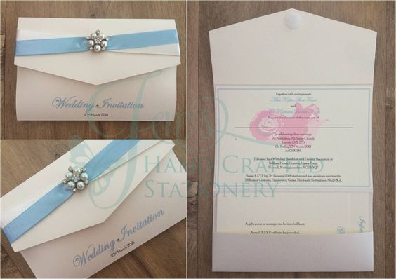 Pale blue and Ivory two tone ribbon pocket fold invitation with diamanté and pearl embellishment  www.jenshandcraftedstationery.co.uk  www.facebook.com/jenshandcraftedstationery Hand Made Wedding stationery: Save the date, Wedding invitations, Table Plans, Place Settings, Guest Books, Post Boxes, Menus, Table Numbers/Names