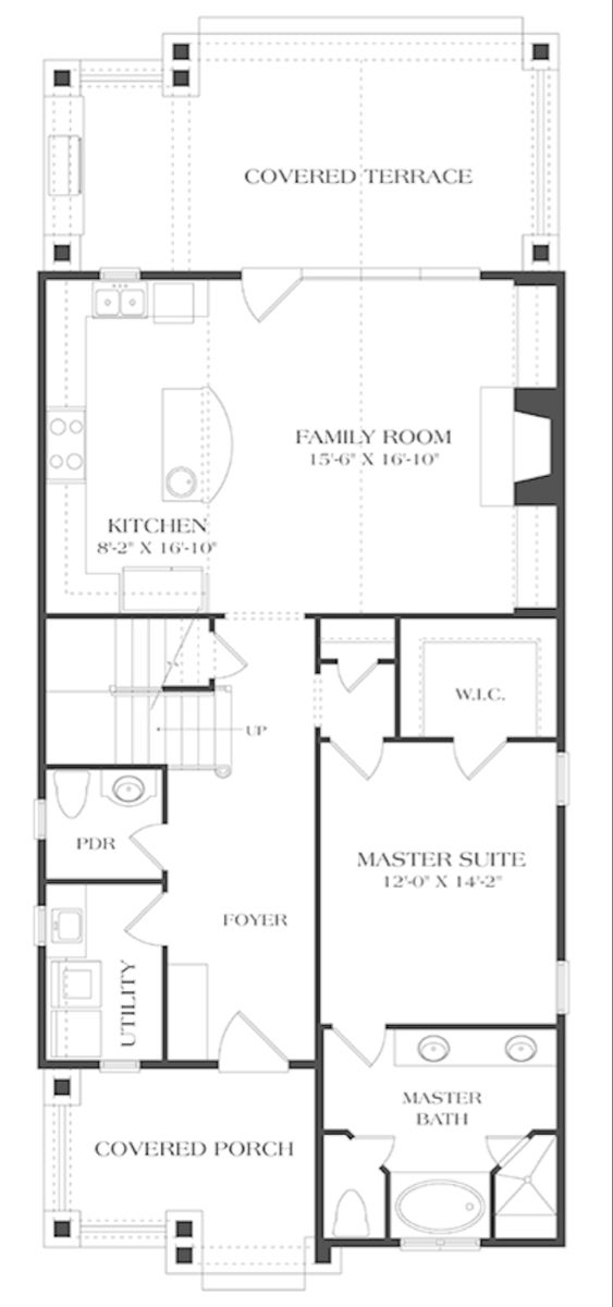 Craftsman Style House Plan 3 Beds 2 5 Baths 1676 Sq Ft Plan 453 634 Narrow House Plans Craftsman Floor Plans Craftsman Style House Plans