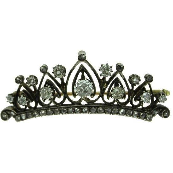 Preowned Antique Diamond Gold Tiara Brooch ($3,984) ❤ liked on Polyvore featuring jewelry, brooches, multiple, antique broach, yellow gold jewelry, antique diamond brooch, antique brooches and gold jewelry
