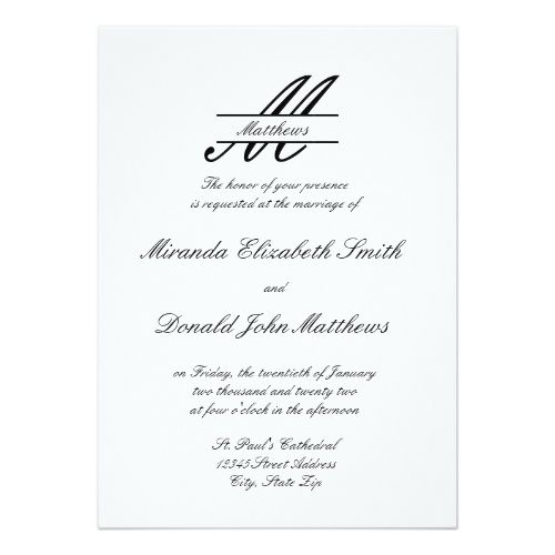 Formal Simple Elegant Wedding Invitation Zazzle Com Elegant Wedding Invitations Simple Elegant Wedding Elegant Wedding