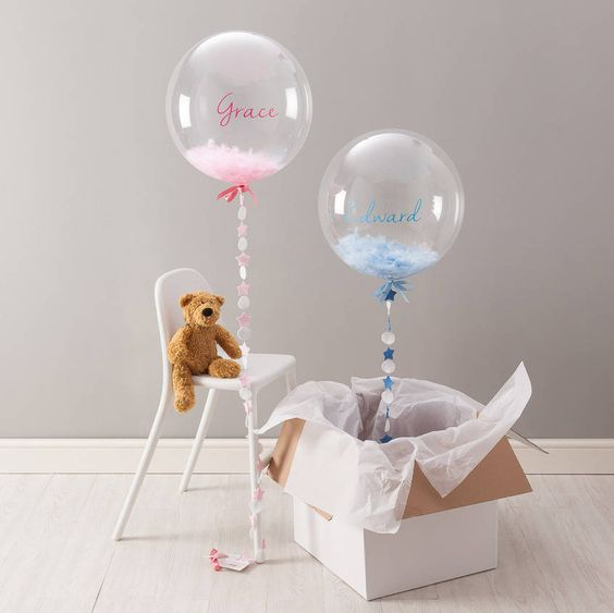 new baby feather filled balloon by bubblegum balloons | notonthehighstreet.com