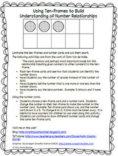 FREE ~ Math Coach's Corner: Using Ten-Frames to Build Number Relationships