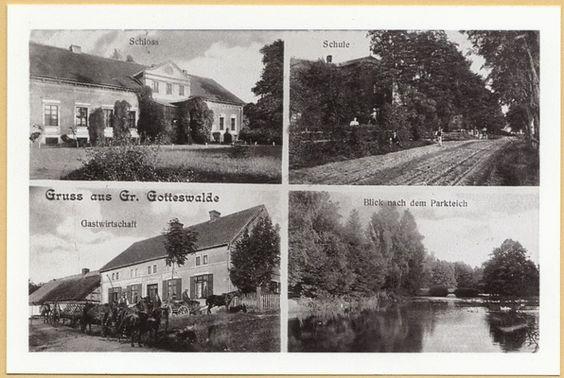 Groß Gottswalde, Schloss, Schule, Gastwirtschaft, Parkteich