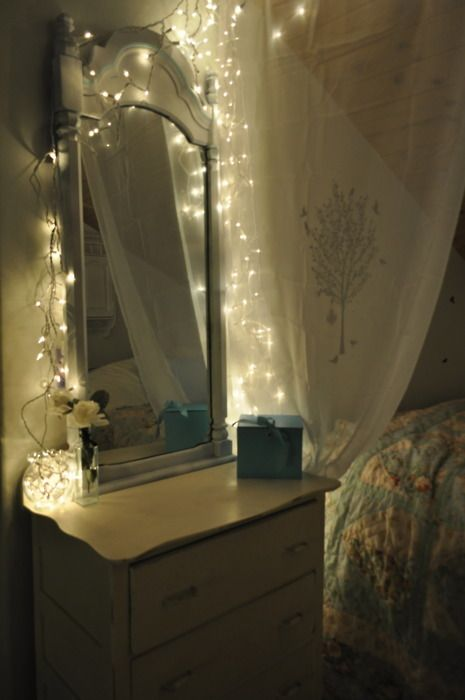 soft lighting with mini white Christmas lights behind sheer curtains above  around dresser mirror  soft. Dresser With Mirror And Lights