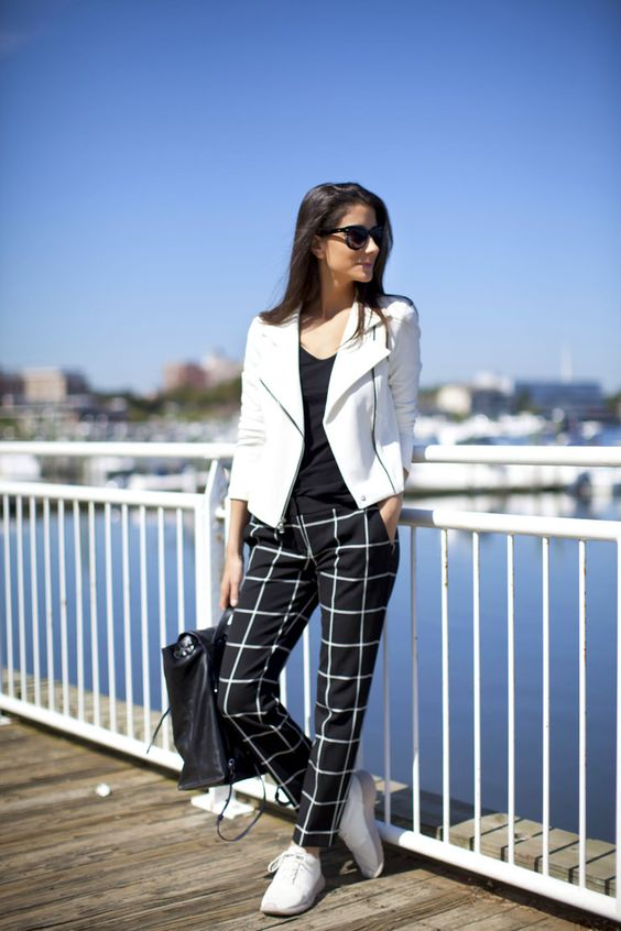 Blogger Saucy Glossie rockin' a pair of windowpane Express pants ...