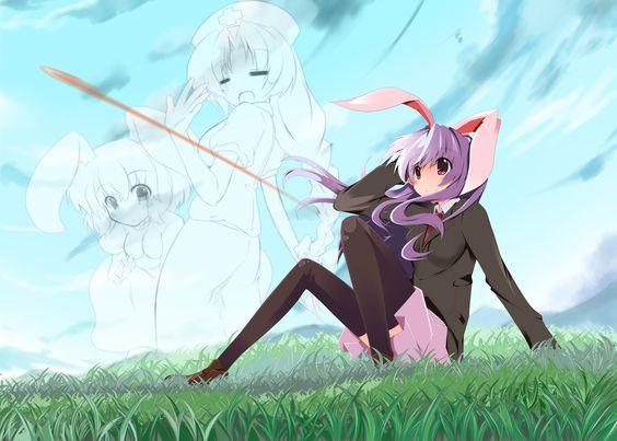 animal_ears bunnygirl inaba_tewi plus9 reisen_udongein_inaba touhou yagokoro_eirin