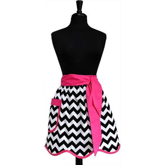 Hot Pink and Black Chevron Hostess Apron