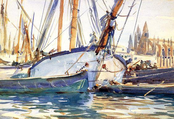 Shipping,Majorca 1908. John Singer Sargent