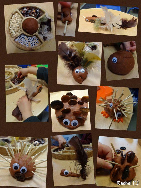 """Play dough, feathers, buttons, matchsticks & googly eyes - from Rachel ("""",)"""
