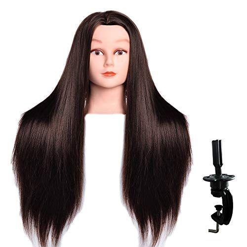 Luaija Mannequin Head 26 28 Long Synthetic Fiber Hair Styling Training Head Manikin Cosmetology Doll Head Hair With In 2020 Hair Styles Head Hair Mannequin Heads