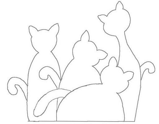 cats for applique or stitchery