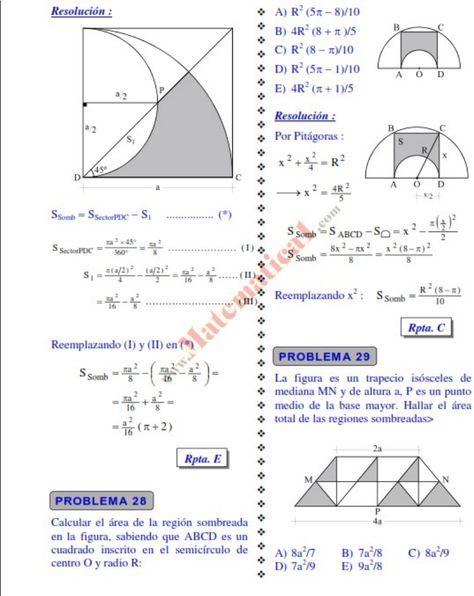 Areas De Regiones Sombreadas Pdf Ejercicios Resueltos De Razonamiento Matematico Nivel Preuniversitario Ejercicios Resueltos Cursos De Matematicas Matematicas