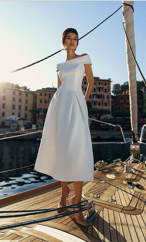 2019 New Arrival Vintage A Line Dress Robe Femme Vestidos Off Shoulder Midi White Dresses 2019 - € 22.31