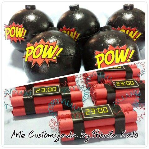 Muitas bombas e dinamites para festas Super Heróis!